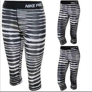 Grey/White/Black Nike Pro Dri Fit Striped Crops